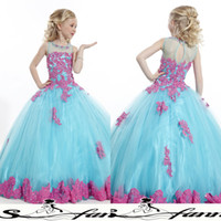 Wholesale New Girl s Pageant Dresses Light Sky Blue Tulle and Lace Covered Sheer Neck Ball Gown Cute Lovely Flower Girls Dress Cheap Kids Dress