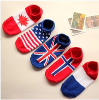 Wholesale Ladies boat sock Flag style women cotton socks USA UK Canada Norway France pair