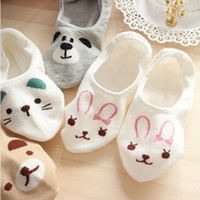 Wholesale 2014 new cute women socks cartoon bear cat lady bunny summer cotton stealth socks pair