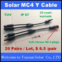 20 paires Solar Y branch Connecteur, MC4 auto-déblocage Y Connecteur de branchement 20 paires / lot 25 ans Garantie de qualité TUV PV panneau d'installation