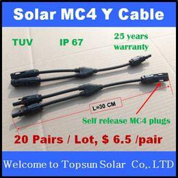 Connecteur mc4 panneau solaire à vendre-20 paires Solar Y branch Connecteur, MC4 auto-déblocage Y Connecteur de branchement 20 paires / lot 25 ans Garantie de qualité TUV PV panneau d'installation