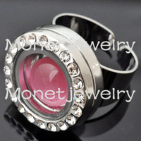 Wholesale J00048 noosa platinum plated ring with floating charm locket locket size x12mm ring size mm