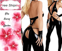 Sexy Costumes leather clothes - Sexy Lingerie Babydolls Black Open Crotch Latex PVC Sexy Women Costumes Jumpsuits Faux Leather Clothing Erotic Bodysuit Clubwear Costumes