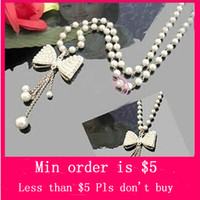 Wholesale Min Order Mix Jewelry order New Man made Pearl Rhinestone Bow Knot Tassel Necklace E4078