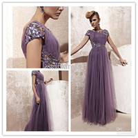 Reference Images Jewel/Bateau Tulle Wholesale - Rhinestone Evening Purple Gown Empire Bateau Short Sleeve Ankle-length Backless Prom Dresses With Sash Peplum Pleats And Beads