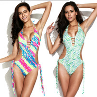 New Palm Print Fringe One- piece Green Zebra Swimsuit with a ...