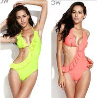 Stylish Swimwear Neon Green Orange Asymmetric Style Cut- out ...
