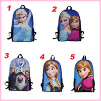 Wholesale 5 styles bags elsa anna princess children bags student Polyester school bags cartoon Both shoulders backpacks