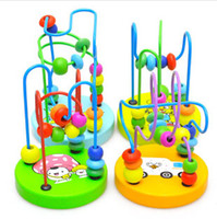 Wholesale Novelty Educational wooden Mini track rail maze small round beads fancy animal toy pearl toys