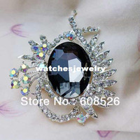 ab items - piece fashion oval crystal pink purple blue dark brown clear stone with AB rhinestone brooch pins item BH7404