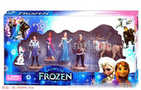 Wholesale Frozen dolls Piece Figurine Playset Action Figure Play Set toys Anna Elsa Hans Kristoff Sven Olaf Kids Gift Box