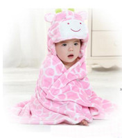 Wholesale New Popular Cute baby s blanket cute cow design hooded pink
