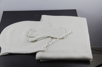 Wholesale milk white cashmere women scarf hat gloves pieces set