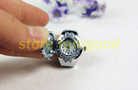 Wholesale Fashion stylish Stainless Steel Finger watch Stretch Ring Watch Gem clamshell fashion ring table