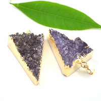 Pendant Necklaces amethyst geode - 3pcs Triangle shape Druzy Drusy Pendant K Gold Plated Edge Amethyst Quartz Geode Nature Druzy Stone Crystal Beads Fit Necklace Findings