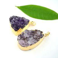 Pendant Necklaces amethyst - 5pcs Gold Edged Raw Druzy Amethyst Pendant Purple Amethyst Stone Pendant Purple Druzy mm mm Long