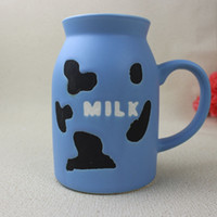 Wholesale Painted ceramics Breakfast Milk Cup Promotional Conference holiday gifts creative style glass milk bottles