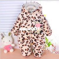 Cheap Wholesale-New winter warm Baby romper baby One-Piece romper coral fleece Hooded Cut cow jumpsuit clothing Free Shipping LT007