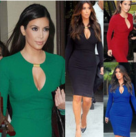 Casual Dresses celebrity style dresses - New Popular Celebrity Long Sleeve Kim Kardashian Style Red Black bridesmaid dress Women Casual Sexy Party Dress S M L XL XL