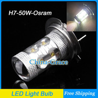 Wholesale Osram Chip W H7 LED Car Fog Lights Fog Lamps High Power Auto Daytime Running Light Bulbs LED Headlight White