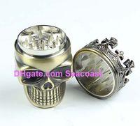 Wholesale Lowest Price King Skull Shape Metal Tobacco Grinder Herb Smoke Smoking Grinders Hand Muller Magnetic hand Muller