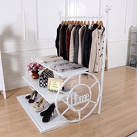 Wholesale Men s and women s clothing racks display shelf Wrought iron clothes rack Indoor ground clothes tree
