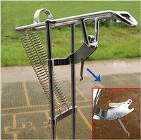 fishing pole holder - Double Spring Automatic Adjustable Fishing Rod Pole Bracket Practical Silver Steel Fishing Tool Stand Holder top sale free