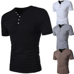 Wholesale Occident Fashion Men Slim T shirts Plus Size V Neck Collar Shirts Casual Buttons Embroidery Short Sleeve Polo Shirts Colors Size