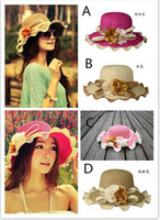 Wholesale Fashion New Women Ladies Wide Brim Summer Sun Beach Straw Fedora Derby Hat Cap fx239