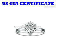 Wholesale GIA US certified ct solid K white gold moissanite engagement rings wedding simulate diamond rings for women Luxury quality r