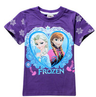 Wholesale In Stock Frozen T Shirt Short Sleeve Children Summer Clothes Boys Girls Cotton Plain Tee New Hot