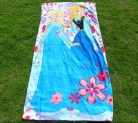 Wholesale 76 cm Big FROZEN Princess Towel Elsa and Anna cotton towels bathroom children beach towel kids bath towel Cotton Kids Bikini Cover Up