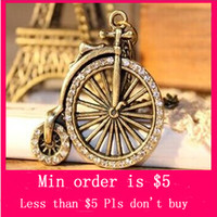Women's bicycle chain necklace - Min Order Mix Jewelry order Retro Vintage Cute Bicycle Wheel W Diamante Fashion Pendant Necklace Chain A1098
