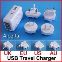 Wholesale Universal Ports USB Travel Charger HUB AC Power Adapter Travel Adapter Charger Power Adaptor Plug US AU UK EU for cellphone Tablet Mobile