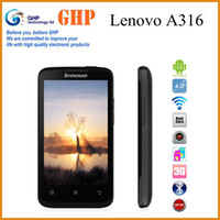 Wholesale Original Lenovo A316 MTK6572 dual core Android mobile phone MP Support Russian menu G WCDMA GSM GPS black in stock