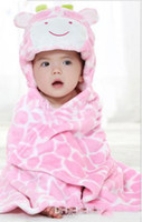 Wholesale hot selling New Korean Cute baby s blanket cute cow design hooded pink