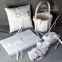 Wholesale Ring pillow Wedding Collection Set in White Satin With Ribbons Pieces