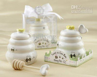 Wholesale Sweet As Can Bee Ceramic Honey Pot with Wooden Dipper