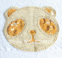 Wholesale 2 X Crochet Embroidered Sequin Sewing On Appliques Patch Bear Head Motif New