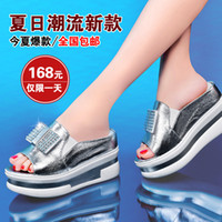 Wholesale Lycra Kington summer new muffin slope with high heeled platform sandals rhinestone sandals women s casual shoes