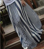 Chiffon Long Women Casual Womens Long Skirts Irregular Stripes Full-length Maxi Chiffon skirt 4826