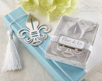 metal bookmark - Fleur de Lis Metal Bookmark with Elegant White Silk Tassel