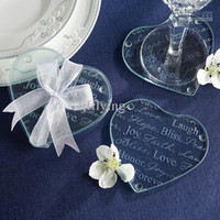 glass coasters - Good Wishes Heart Glass Coaster Set wedding gift per set