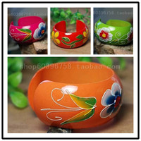 Bangle Other Red Rose Red 867 Green 866 Orange 864 86 free shinppingHand- painted wooden bangles sub orange flowers opening ethnic jewelry boutique original wooden bracelet hand ring