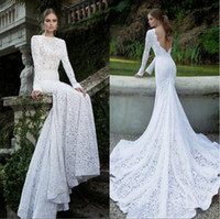 Trumpet/Mermaid Reference Images High Collar 2014 popular element Lace Mermaid Wedding Dresses High Collar Sexy Backless Long Sleeve Chapel Train Bridal Gown Berta style collection