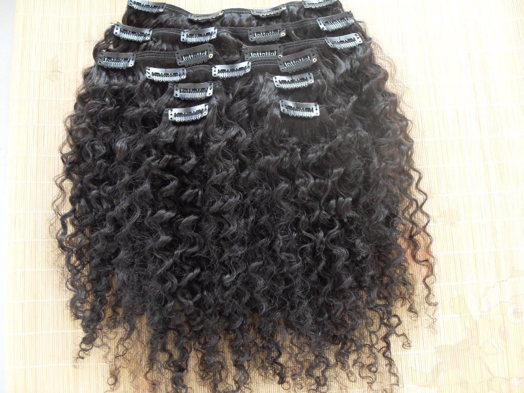 New Style Brazilian Virgin Curly Hair Weft Clip In Kinky