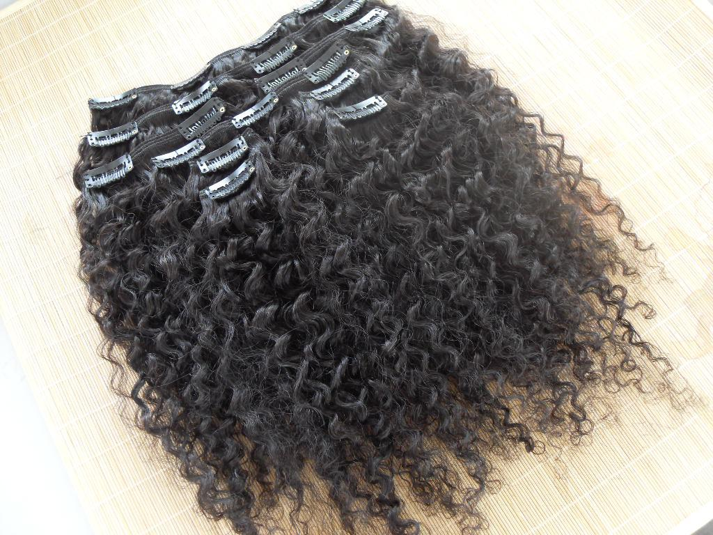 Buy new star brazilian human hair extensions kinky curly clip weaves natural black color one bundle