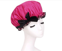 shower cap - 8 Colors Double Thickness EVA Waterproof Shower Cap Bathing Cover Lace Shower Cap with Bowknot RY1427