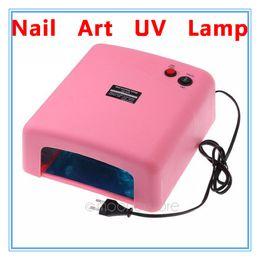 Wholesale Pink UV Lamp W V Gel Curing Nail Art EU Plug with nm UV Bulb Dropshipping WHM364