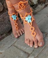 Barefoot Sandals aqua pure - 2 color Barefoot sandals hand crochet pure cotton sexy Peach Aqua Anklet Bellydance Beach pair